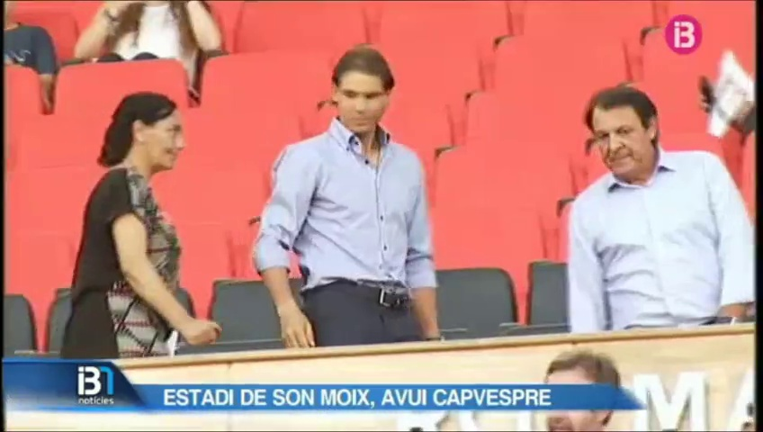 Rafael Nadal visited the football match in Mallorca.