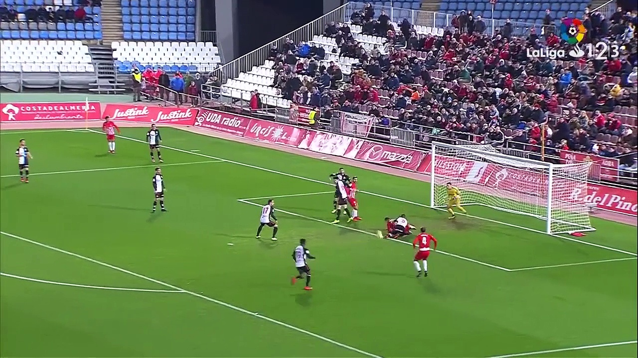 UD Almería goal is disallowed due to the referee awarding a penalty, but resulting penalty is than missed!