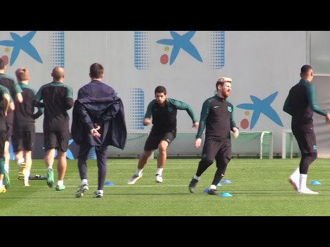 Barcelona Squad Train Ahead Of Their Champions League Match Against Manchester City In Barcelona